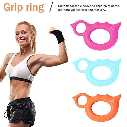 Equipo de la Aptitud Paquete de 3 anillos de agarre de mano de Protable, anillo de Entrenador Ejercitadores de mano Fortalecedor de agarre Ensanchador de ejercicio de agarre de dedo - Anillo con forma