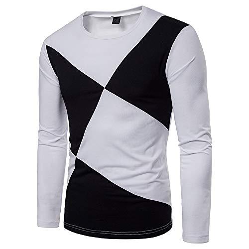 Kapuzenpullover Leisure Und Komfortable Zweifarbige Nähte Runden Kragen Langärmeligen T-Shirt Pullover Weiß M