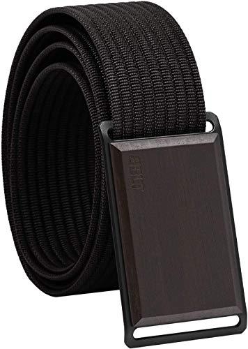 Belt Cinturón de primera calidad hombre y mujer con hebilla de aluminio y madera y cinturón intercambiable. Madera de ébano/negro M