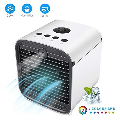 Tragbare persönliche Klimaanlage, USB-Luftkühler, Luftbefeuchter, leiser Desktop-Mini-Lüfter, persönlicher Desktop-Lüfter, 3 Geschwindigkeiten, ideal für persönliche Bereiche wie Büros, Innenräume