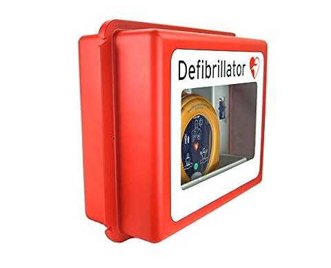 MedX5 Defibrillator Wandkasten für alle AED Herstellermarken, mit akustischem Alarm, für Innen und Aussenbereiche, Made in Germany!!, 5 Jahre Garantie …