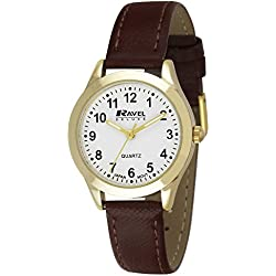 Ravel Deluxe Classic Women's Quartz Watch with White Dial Analogue Display and Brown Leather Strap RD002.2GL