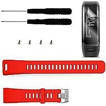 Garmin Vivosmart HR Banda con protector de pantalla, TUSITA® Pulsera de silicona de repuesto de repuesto Brazalete deportivo Accesorios de pulsera con destornillador para Garmin Vivosmart HR (rojo)
