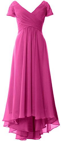 MACloth Cap Sleeves V Neck High Low Mother of Bride Dress Evening Formal Gown Begonia