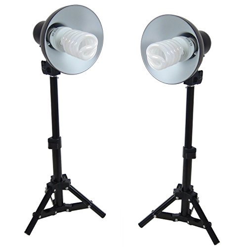 DYNASUN Kit 2X PS01 400W Tageslichtleuchte Studioleuchte Videoleuchte mit Stativ Reflektor und Spiral Energiesparlampe Daylight Tageslicht