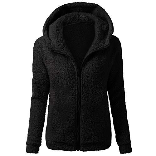BaZhaHei Damen Mantel Mode Frauen-Kapuzenpullover-Mantel-Winter-Warmer Reißverschluss-Mantel-Baumwollmantel Outwear Vlies Mantel