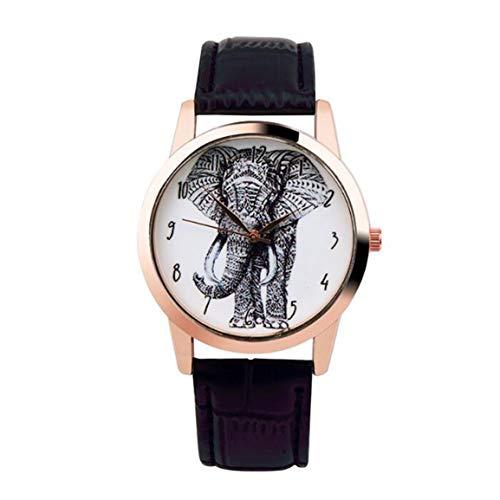 Fantasyworld La Nueva Manera de Cuarzo Reloj de Pulsera Elefante Impresos Correa de Cuero Impermeable del Reloj de Elefante Diseño Reloj de Cuarzo
