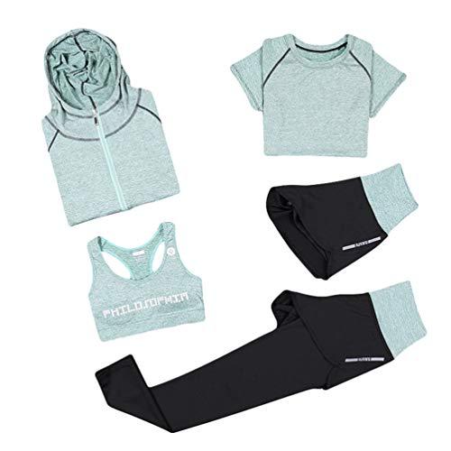 Xinwcang Damen Yoga Kleidung Anzug 5er-Set Gym Fitness Kleidung Set Schnell trocknend Lauf Jogging Trainingsanzug Grün M (Workout-shorts Frauen-pack Für)