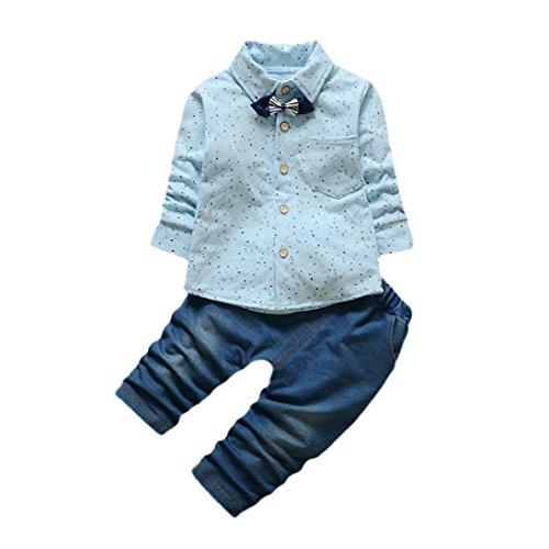 Mono Bebé , Amlaiworld Bebé niños pequeño de impresión Tops + pantalones ropa conjuntos 0-24 Mes (Tamaño:12-18Mes, Azul)