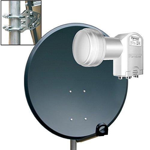 PremiumX Digital SAT Anlage 80 cm Schüssel Spiegel Aluminium Antenne in Anthrazit ALU + Opticum Quad LNB 0,1dB für 4 Teilnehmer Satanlage