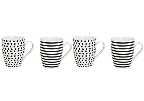 Unbekannt Kaffeetasse 4er Set - Modernes Design Schwarz/Weiß Gestreift und Gepunktet - Porzellan...