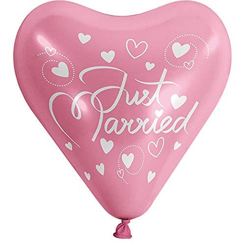 partydiscount24 Herzballons 5 Stück - Freie Farb & Motivwahl Ø 25 cm + 1 Gratis Herzballon Ø 25 cm (Rosa, Just Married) -