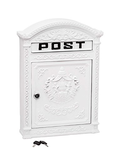 aubaho Briefkasten Wandbriefkasten Aluminium Aluguss Nostalgie Postkasten Weiss