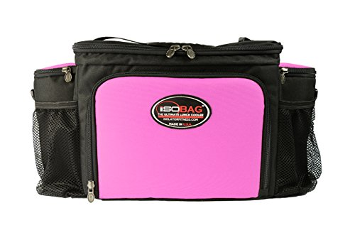 Isobag 6 Mahlzeiten Management System Pink/Schwarz - Isolierte Mahlzeiten-Kühltasche - Isolator Fitness (Isobag 6 Meal-system)