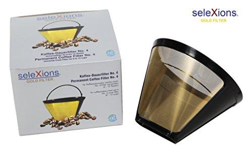 seleXions Kaffeefilter groß, Goldfilter, Titanfilter 1x4 6-12 Tassen Dauerfilter, Permanentfilter für alle Kaffeemaschinen als Ersatzfilter