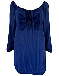 Mujer Gypsy Boho Chic Azul Marino bordado Túnica Top