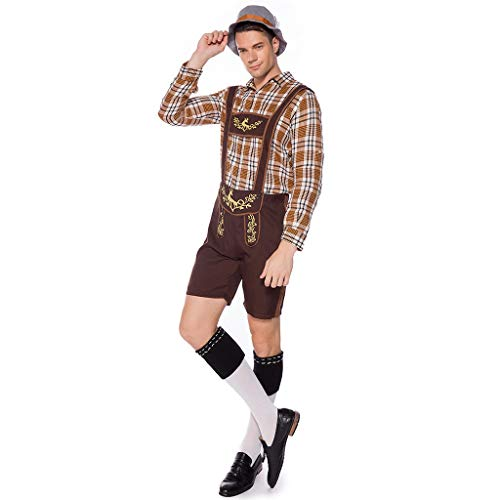 FRAUIT Herren Oktoberfest Set Cosplay Kostüm Bier 1pc Shirt+ 1pc Trägerhose+ 1pc Hut Restaurant Kellnerset Vintage Beer Festival Bayerischen Langarmshirt - Top Hüte Für Verkauf Kostüm