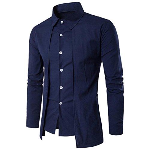 Preisvergleich Produktbild FORH Herren Slim Hemd Simple Mode Solid Farbe Langarmshirt Formell business hemden Freizeit Stehkragen Shirt Casual Shirt Trachtenhemd T-Shirt fürsOktoberfest geeignet (M, Blau)