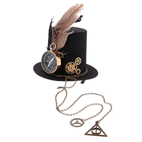 MagiDeal Steampunk Top Hut Bearbeitbarer Kompass Gear Charms Lolita Gear Charms Gothic Headwear