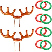 COSORO 2Pcs Christmas Party Inflatable Reindeer Antler Hat Ring Toss Game With Rings For Family Kids Office Xmas Holiday Party Fun Games