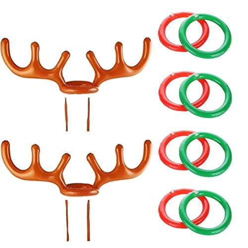 hnachten Party Werfen Aufblasbare Rentier Weihnachten Geweih Hut mit Ringe Für Familie Kinder Büro Weihnachten Urlaub Party Spaß ()