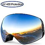 KAIMENG Lunettes de Patinage en Snowboard pour Adulte, Lunettes sphériques Larges Anti-buée, Lunettes de Ski avec Protection UV400...