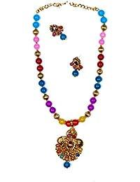 Star Jewellery Gold Colour Brass Necklace Set For Women ,Jewellery Set, Set,Jewellery,Nacklace Set,Women,Women...