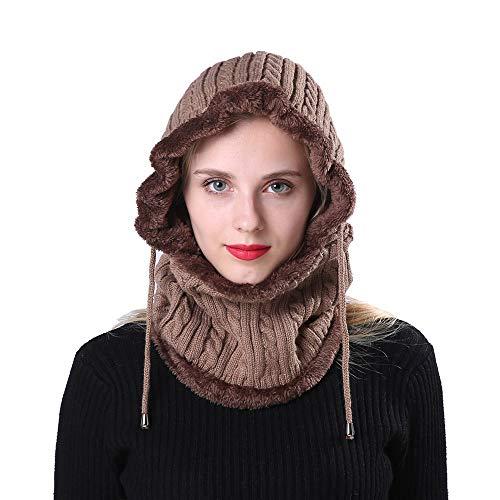 Longra unisex winter cappello invernale di lana beanie berretti paraorecchie con fodera in pile autunno inverno sciarpa con cappuccio cap hood
