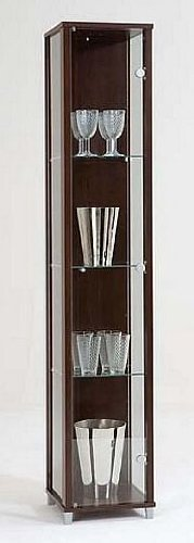 Dark Wood Single Glass Door Display Cabinet with 4 Moveable Glass Shelves & Spotlight