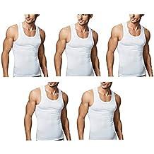 Amul Comfy Mens's White Sleevless Vest Pack of 5 Pcs (Size-80*90) (Sando Baniyan)