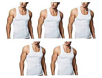 Rupa Men's Cotton Vest (Pack of 5) (RP02S_White_Small)