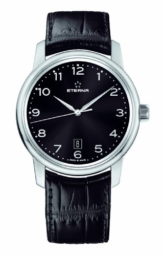 ETERNA MEN'S 42MM BLACK CROCODILE LEATHER BAND AUTOMATIC WATCH 8310-41-44-1175