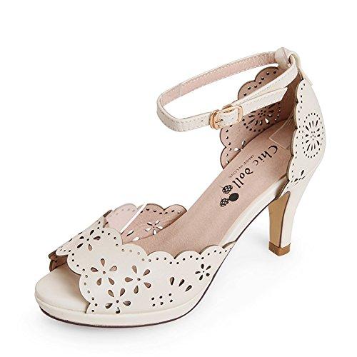 Fish mode estivale de bouche high heels sandales/Mot rétro percé gravé avec des chaussures à talon C