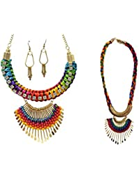 Mansiyaorange Funky Casual College Wear Multi Purpose Multi Colored Thread Work Combo Of Two Necklace Sets For...