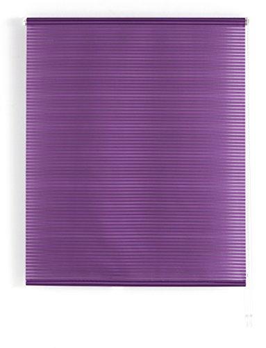 Blindecor Iris - Estor Enrollable translúcido Rayado, 160 x 180 cm, Color Violeta, tela