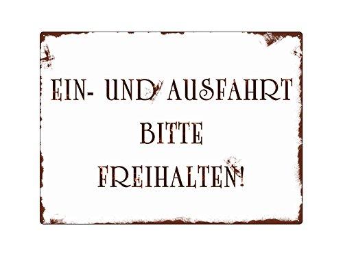 METALLSCHILD Blechschild WANDSCHILD EIN- UND AUSFAHRT BITTE FREIHALTEN SHABBY