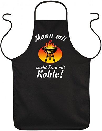 Schürze - Mann mit Grill sucht Frau mit Kohle - Lustige Grillschürze Kittel Schurz (Für Männer Sucht)
