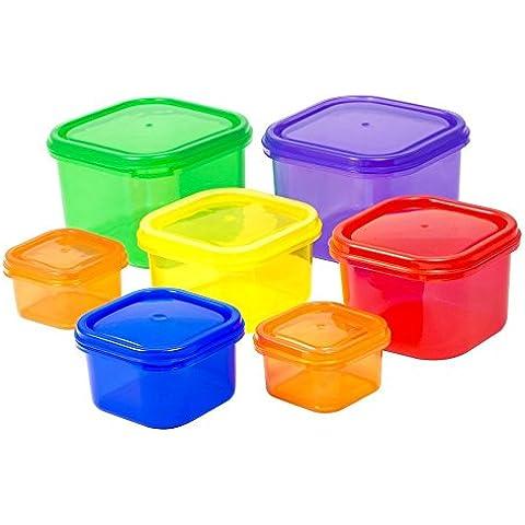 Kit 7pezzi Portion control contenitore per alimenti, con guida, 100% a prova di perdite, multicolore sistema e comparabili a 21Day Fix