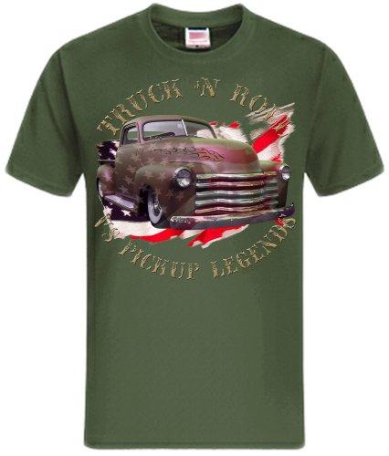 Truck n Roll American Hot Rod Chevy Shirtmatic Vintage T-Shirt Rockabilly color flag oliv