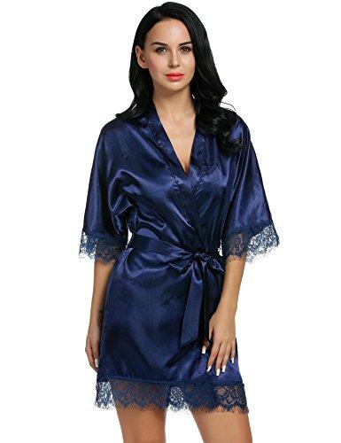 Robe Kostüm Blaue - ADOME Damen Sexy Satin Japanischer Kimono kostüm Kurz Robe Chemise Dessous Set Nachtkleid Chemise Nachthemd Negligee Nachtwäsche Reizwäsche Babydoll Lingerie Blau