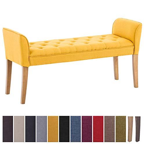 clp chaise longue cleopatra in tessuto design chesterfield, imbottita e trapuntata | panca fondo letto panchina interno gambe in legno| 130 x 40 cm, alt. 65 cm giallo antico chiaro
