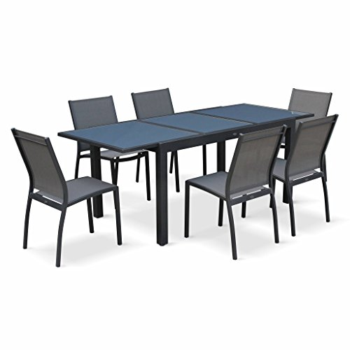 Alice's Garden Salon de Jardin Table Extensible - Orlando Gris foncé - Table en Aluminium 150/210cm, Plateau de Verre, rallonge et 6 Chaises en Textilène