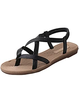 Longra Donne Pelle Microfibra Bohemia Flats Sandal