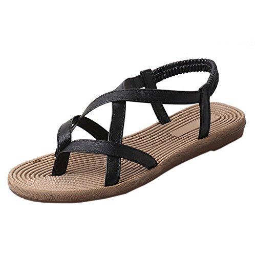 Longra Donne Pelle Microfibra Bohemia Flats Sandal Nero
