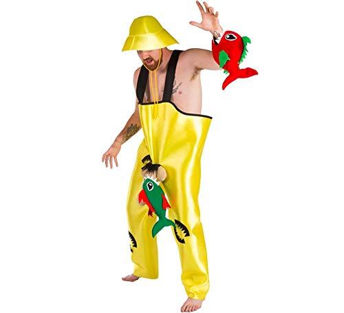 Nines d´Onil Herren Kostüm Fischer Petri mit 2 Piranhas OneSize Angler Fasching Karneval -