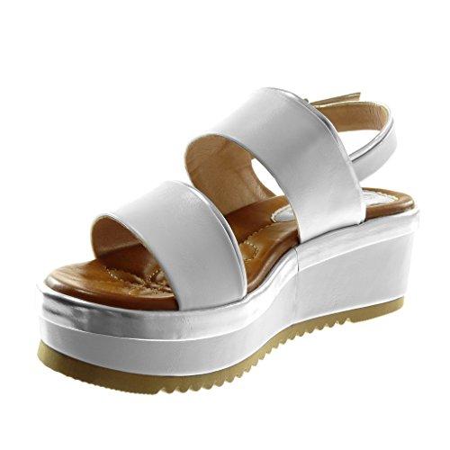 Angkorly Chaussure Mode Sandale Mule Lanière Cheville Plateforme Femme Bicolore Lanière Métallique Talon Compensé Plateforme 6 cm Blanc