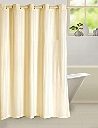 Yellow Weaves PVC Self Stripes Plain Shower Curtain 52 X 82 Inches - 8 Hooks