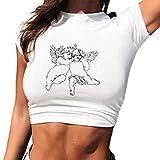 Camicia Sottile Donna Magliette Bianco Estate,Stampa Piccolo Angelo Elegante Senza Maniche Camicetta T-Shirt Sportivo Top (White, L)