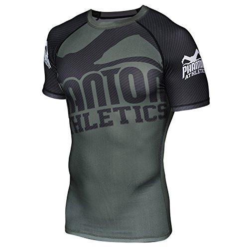 "Phantom Athletics Rashguard ""Supporter"" Green/Black - kurzarm - Funktionsshirt Kompressions Shirt Herren (L)"