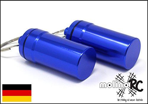 2x Geocaching Versteck | Nano | Pillendose Pillencontainer | Alu Container Micro Cache | blau 4,5 x 2 cm - molinoRC Nano-cache